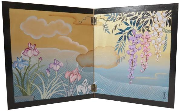 トールペイントご自分で描く図案付白木素材キット 2曲屏風(大) あやめに藤 cwk-245 丁番2ヶビス付き 季節を描いた小ぶりの屏風。