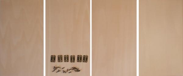 トールペイント用無塗装白木素材 4曲屏風 250 小 cw-1202 丁番ビス付