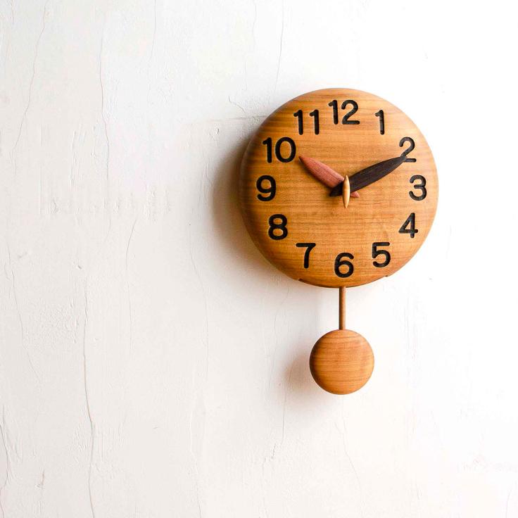 直径18cm 手作り木製振り子時計 カスタムオーダーメイド