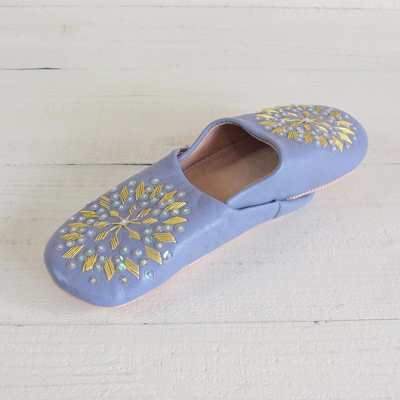 Morocco Babouche バブーシュ 刺繍スパンコール ラベンダー×黄色×オーロラ