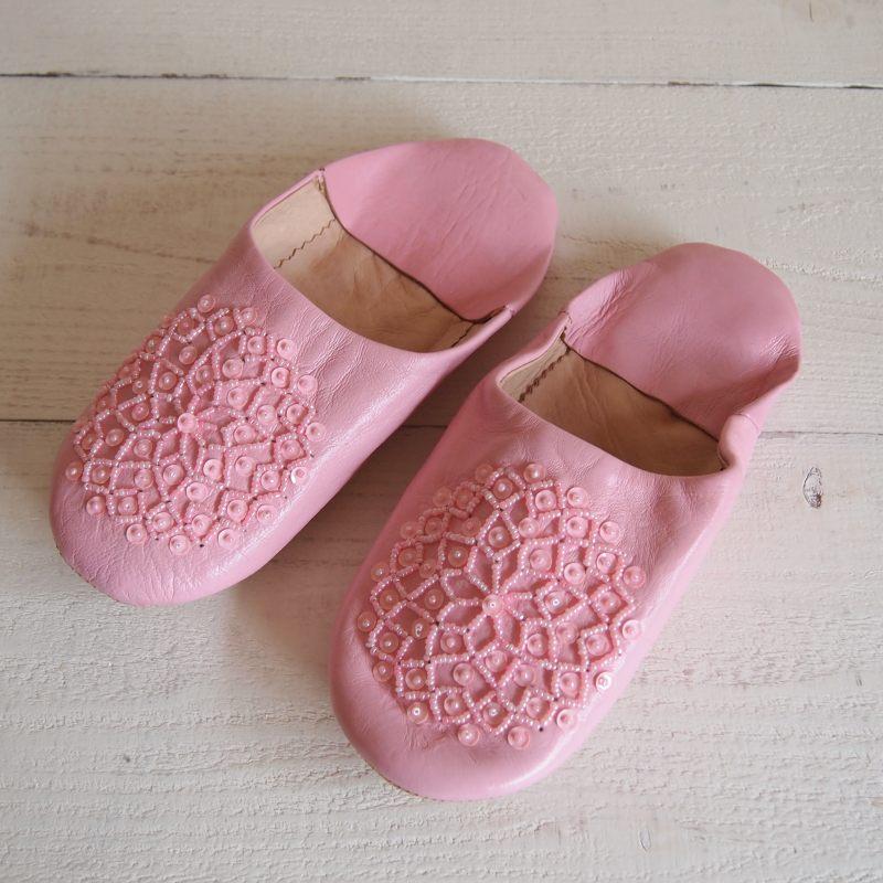 Morocco Babouche バブーシュ ビーズスパンコール ピンク×ピンク×ピンク