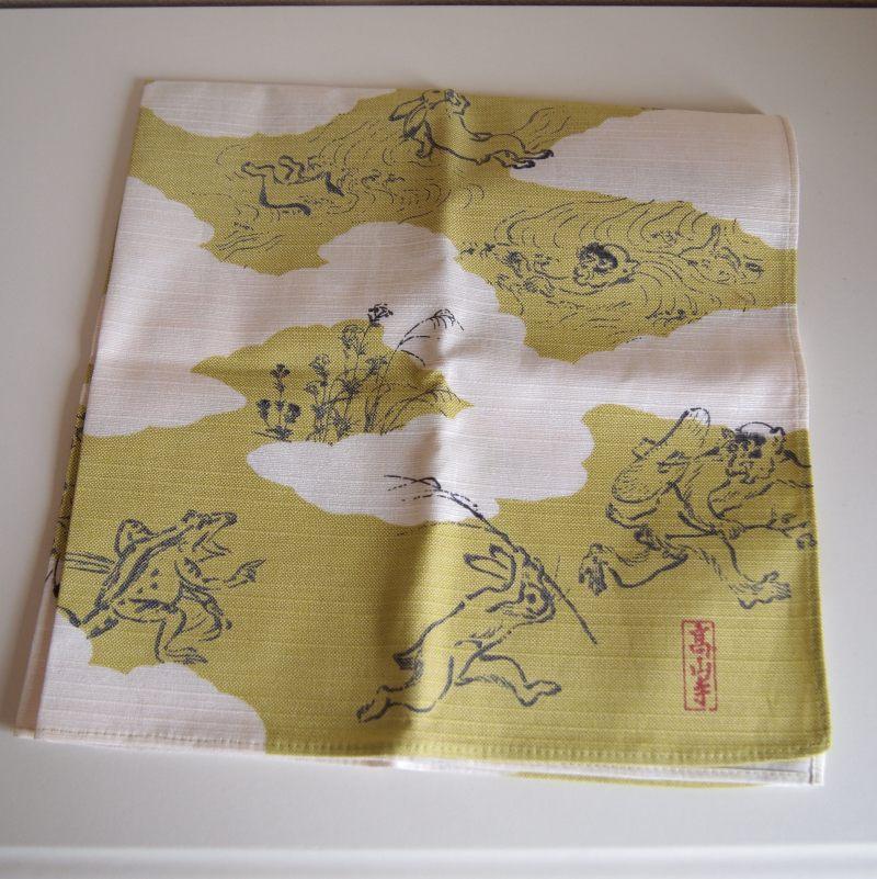 鳥獣戯画 ミニ風呂敷 / クモドリ グリーン