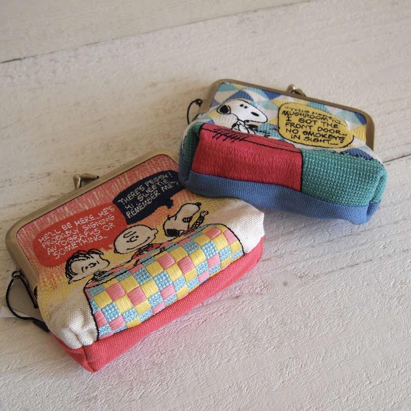 PEANUTS スヌーピー 畳み刺繍ポーチ ミニがま口 NLC5