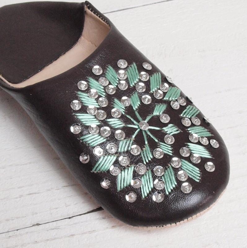Morocco Babouche バブーシュ 刺繍スパンコール 焦げ茶×ミント×シルバー