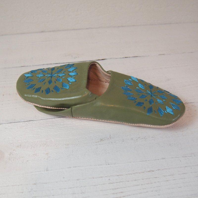 Morocco Babouche バブーシュ 刺繍 グリーンティ×ターコイズ