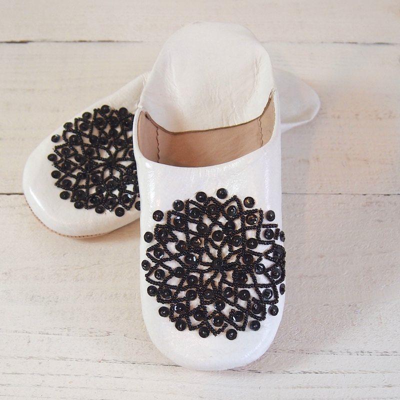 Morocco Babouche バブーシュ ビーズスパンコール 白×黒×黒