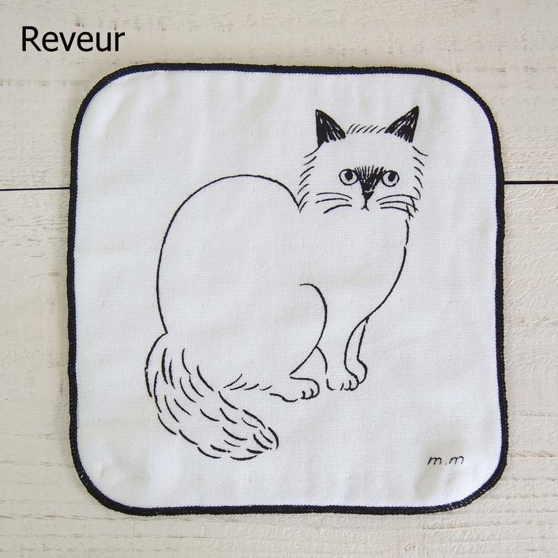 m.m 松尾ミユキ Hand towel ハンドタオル Cat【ゆうパケット4枚まで1通で発送可】