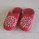 Morocco Babouche バブーシュ 刺繍 紅赤×白