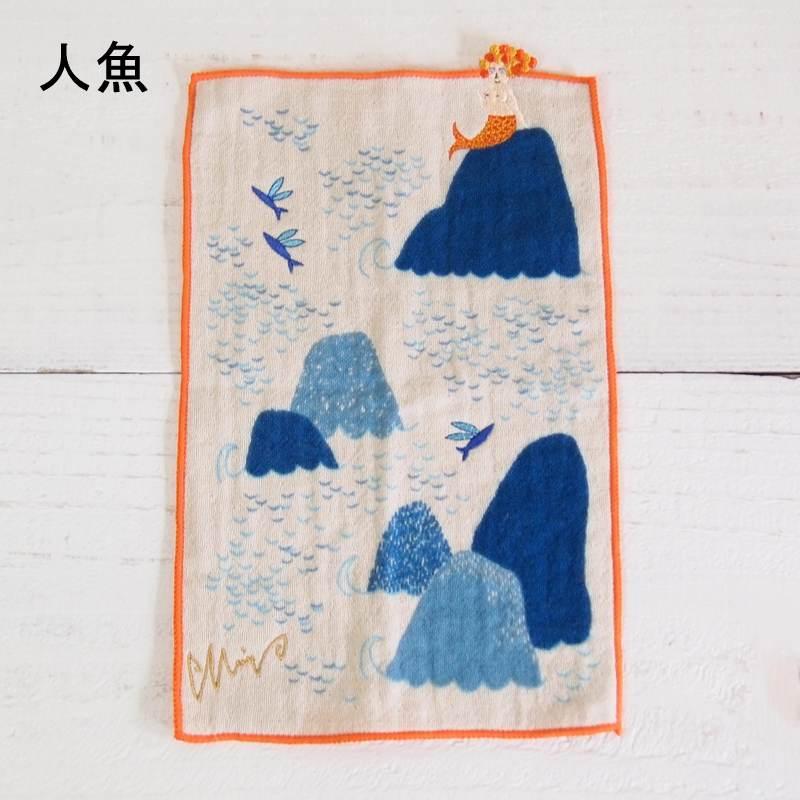 morita MiW×楠橋紋織 刺繍 ガーゼ地 ポケットハンカチ part1 【ゆうパケット6枚まで1通で発送可】
