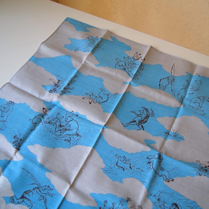 鳥獣戯画 ミニ風呂敷 / クモドリ ブルー 【ゆうパケット6枚まで1通で発送可】