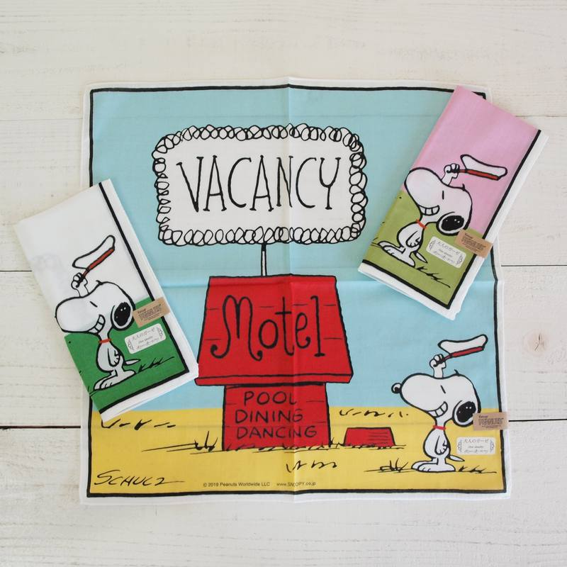 Vintage PEANUTS スヌーピー 大人のガーゼハンカチ Motel 【ゆうパケット6枚まで1通で発送可】