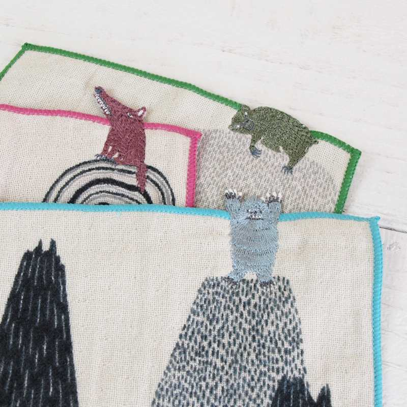morita MiW×楠橋紋織 刺繍 ガーゼ地 ポケットハンカチ part2 【ゆうパケット6枚まで1通で発送可】