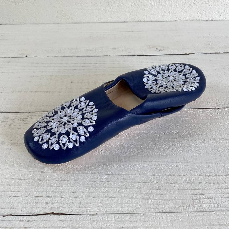 Morocco Babouche バブーシュ ビーズスパンコール 濃紺×白×白