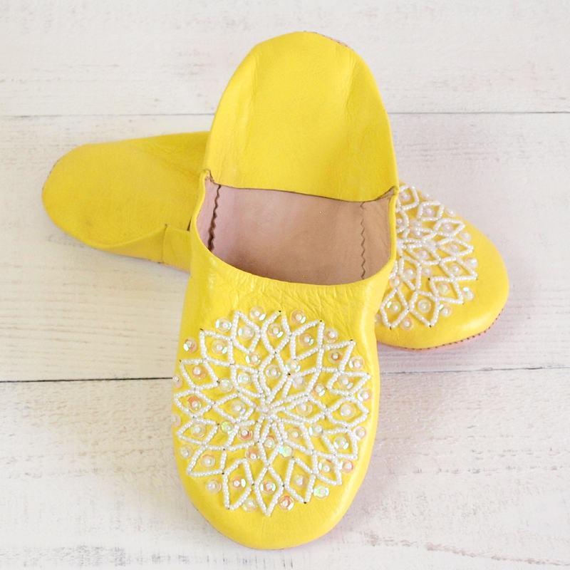 Morocco Babouche バブーシュ ビーズスパンコール 黄×白×オーロラ