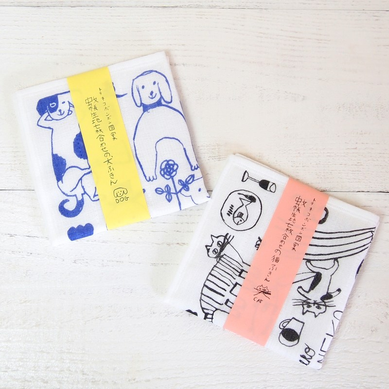トラネコボンボン図案 蚊帳生地七枚合わせのふきん 【ゆうパケット4枚まで1通で発送可】