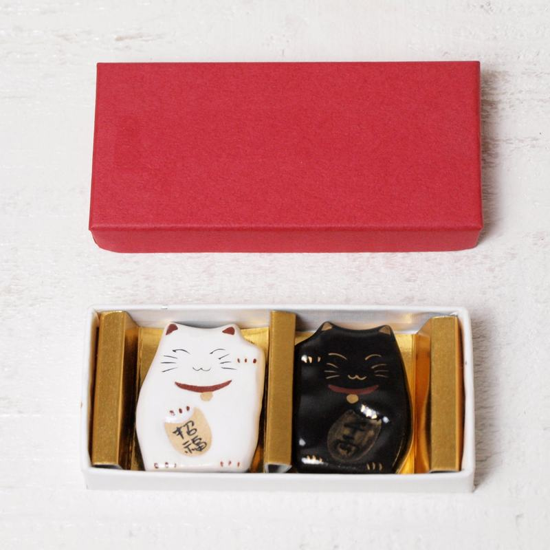 京焼・清水焼 福招き猫(両面) ペア箸置き