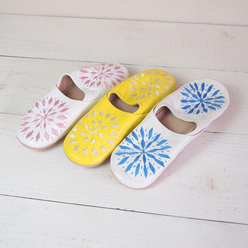 Morocco Babouche バブーシュ 刺繍 黄×白