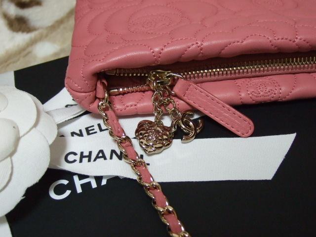CHANEL シャネル カメリア柄 チェーン付きポーチ ピンク