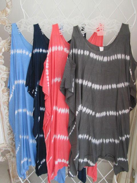 ◇◆◇ Casual ◇◆◇ 肩あきサマードレス(ボーダータイダイ柄)4色