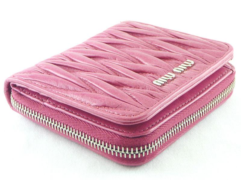 MIUMIU ミュウミュウ マトラッセ 折りたたみ財布 5M0522 FUXIA ピンク系