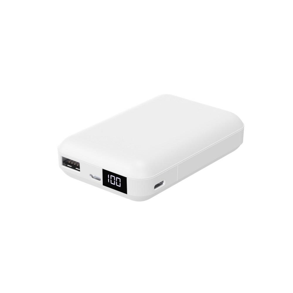 おすすめ HIDISC 液晶表示で残量がわかるモバイルバッテリー カードサイズ, USB-Type C入出力可能 ホワイト HD-MBLCD10000BTWH 充電器