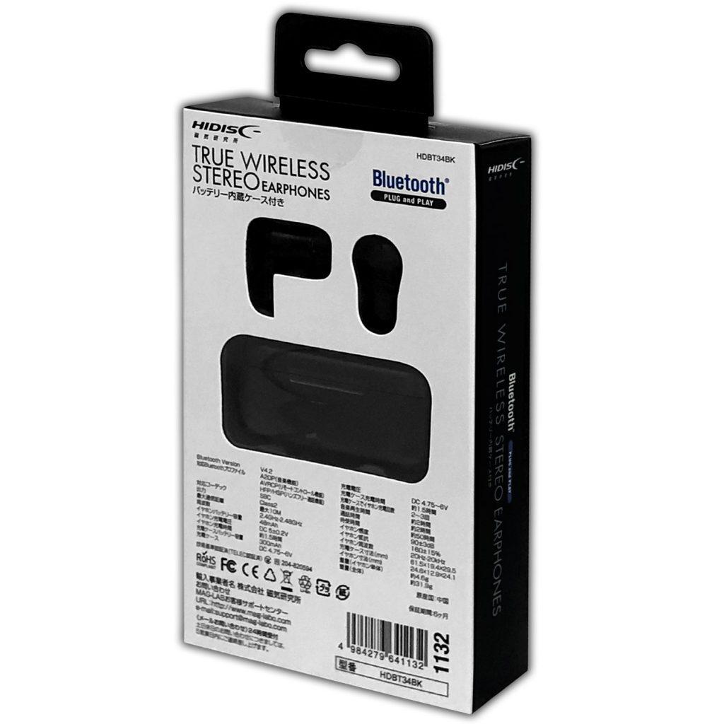 HIDISC バッテリー内蔵ケース付き TRUE WIRELESS Bluetoothイヤホン ハンズフリー 通話可能