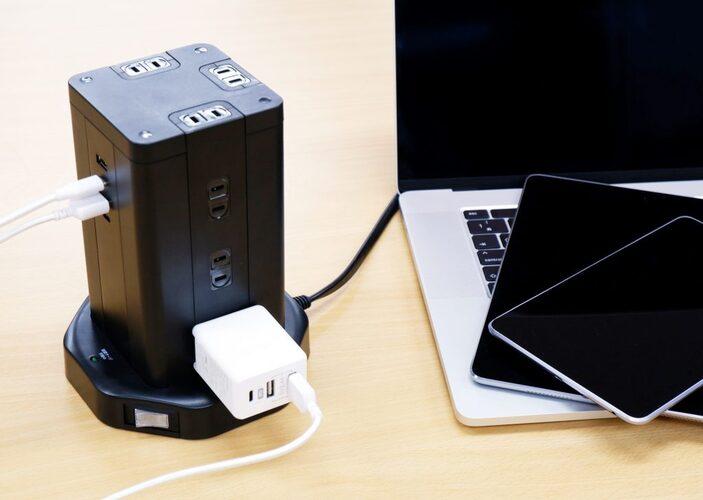 HIDISC タワー型USB付電源タップ (Type-C×2+Type-A×2)HD-AC12C2U2BK