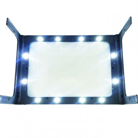 HIDISC  12個のLEDライトを搭載した 倍率3倍 フルページ対応 折りたたみ式ハンズフリースタンドLED拡大鏡 HD-300PSLA4USB