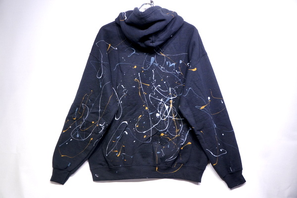 【THRIFTY LOOK】 PAINT GILDAN HOODIE -BLACK- TL20F006