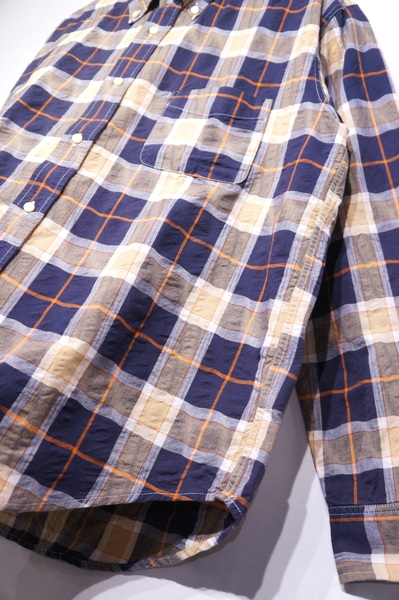 【SUGRCANE】 WAVE CHECK LS BD SHIRT -128 NAVY- SC28445