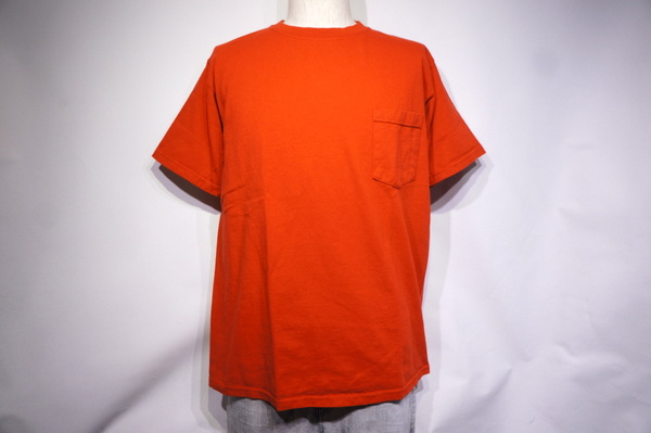 【GOOD WEAR】 【JAPAN CUSTOM】 OVER DYE SS CREW NECK POCKET TEE -RUBY RED-