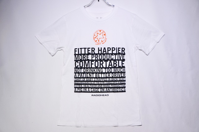 【ROCK TEE】 RADIO HEAD FITTER HAPPIER -WHITE-