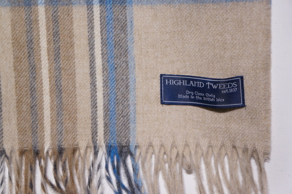 【HIGHLAND TWEEDS】 NEW STOLE 70x185 -T0486 KIDWICK NATURAL AQUA-