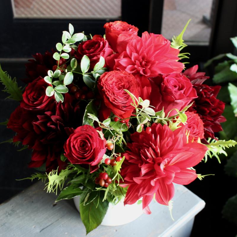 アレンジメント L 長春花 choshunka 還暦祝いにもオススメ!! 赤バラの華やかなギフトアレンジ