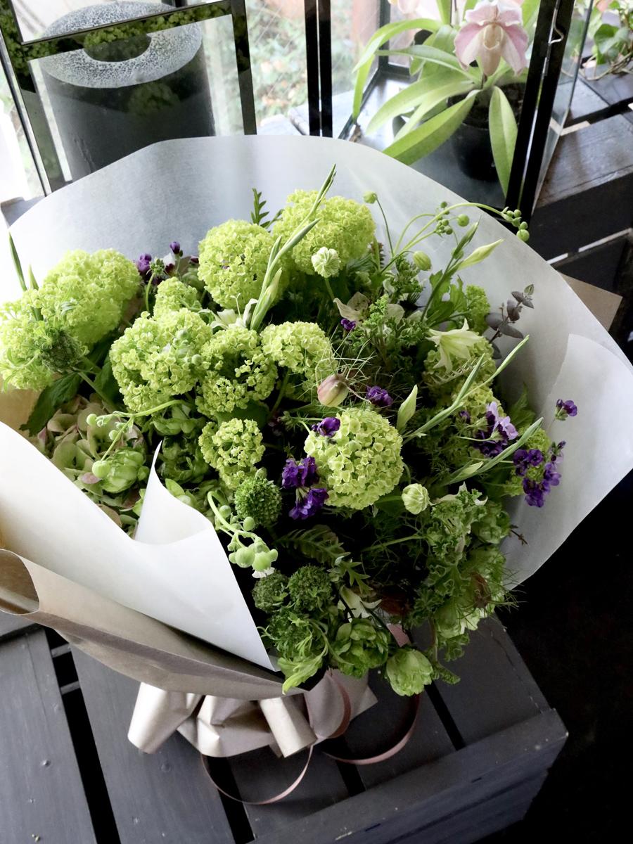 特選花束special 翠色 suisyoku 旬の素材をたっぷりと使ったフレッシュグリーンブーケ