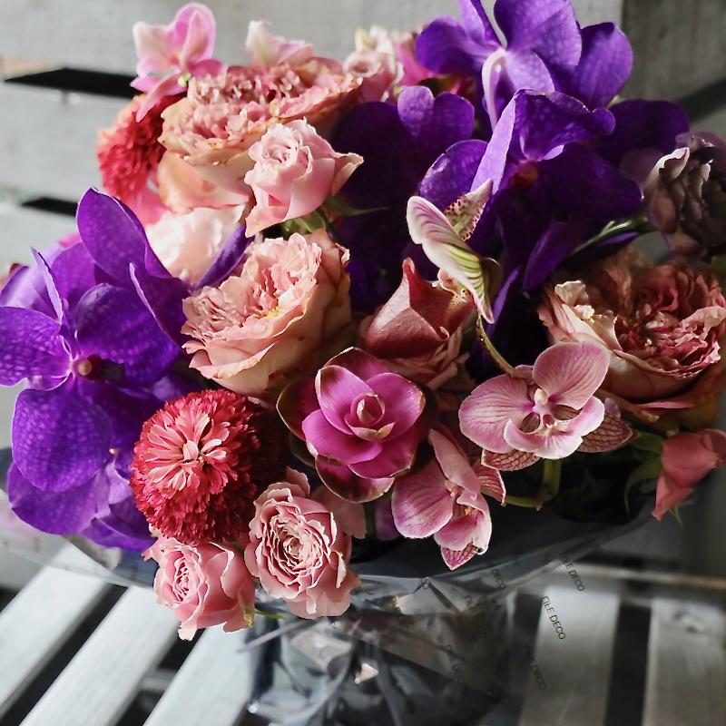 アレンジメント 3L 本灯籠 hontourou 定番人気の「極彩美」花器付きローズギフト