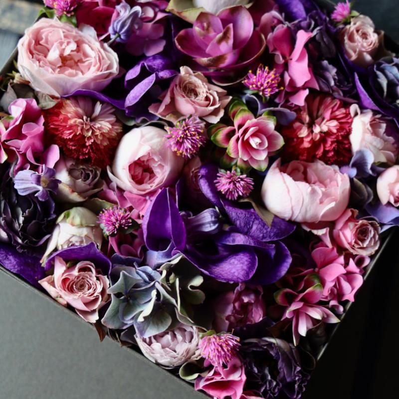 ボックスフラワー 27cm 本色 honshiki 定番人気の「極彩美」花器付きローズギフト ★都心エリア限定配送