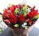 弁柄 〜 ラグジュアリーな赤バラにふわっと柔らかなグリーンを添えました。 〜  [ 特選花束 L size ]