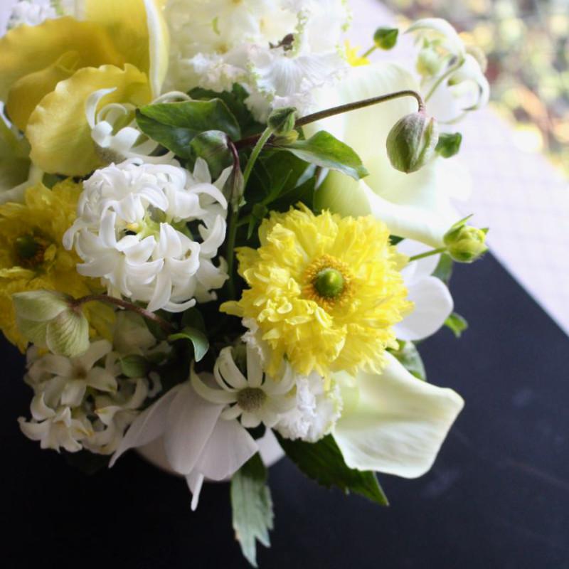 アレンジメント M 黄檗 oubaku【1月の花】花器付き ★季節限定 1/10~2/15