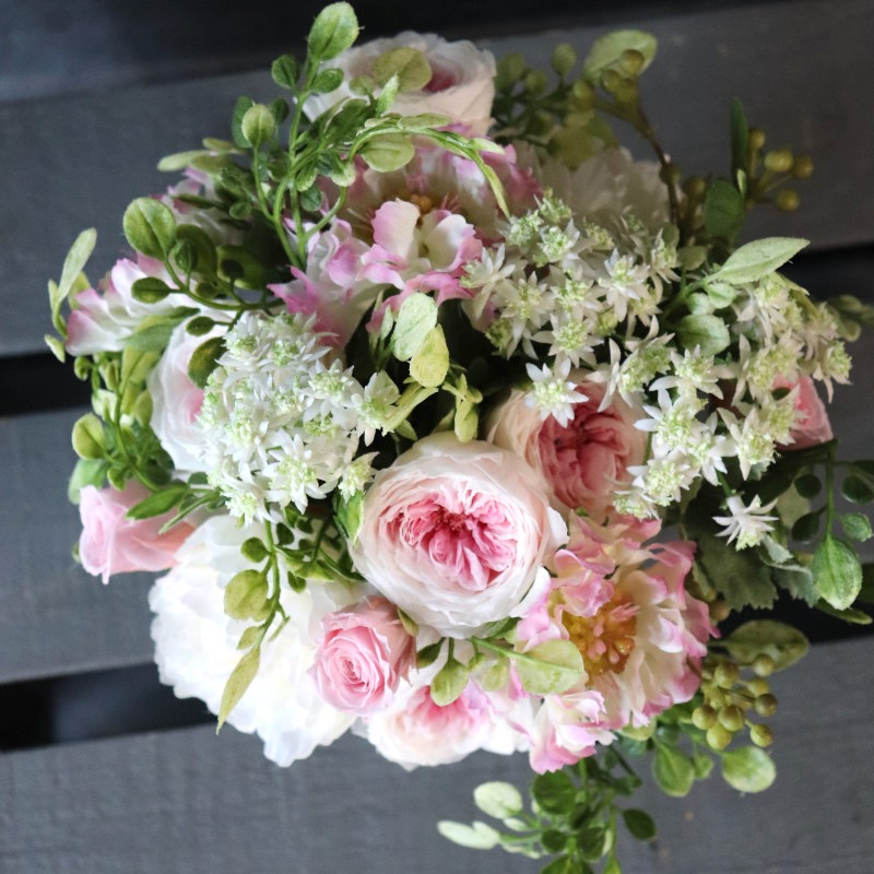 プリザーブド&アーティフィシャルフラワーアレンジメント S 白桜 hakura どことなく水彩画のような優しげな奥行き感 レディライクなピンクのグラデーション