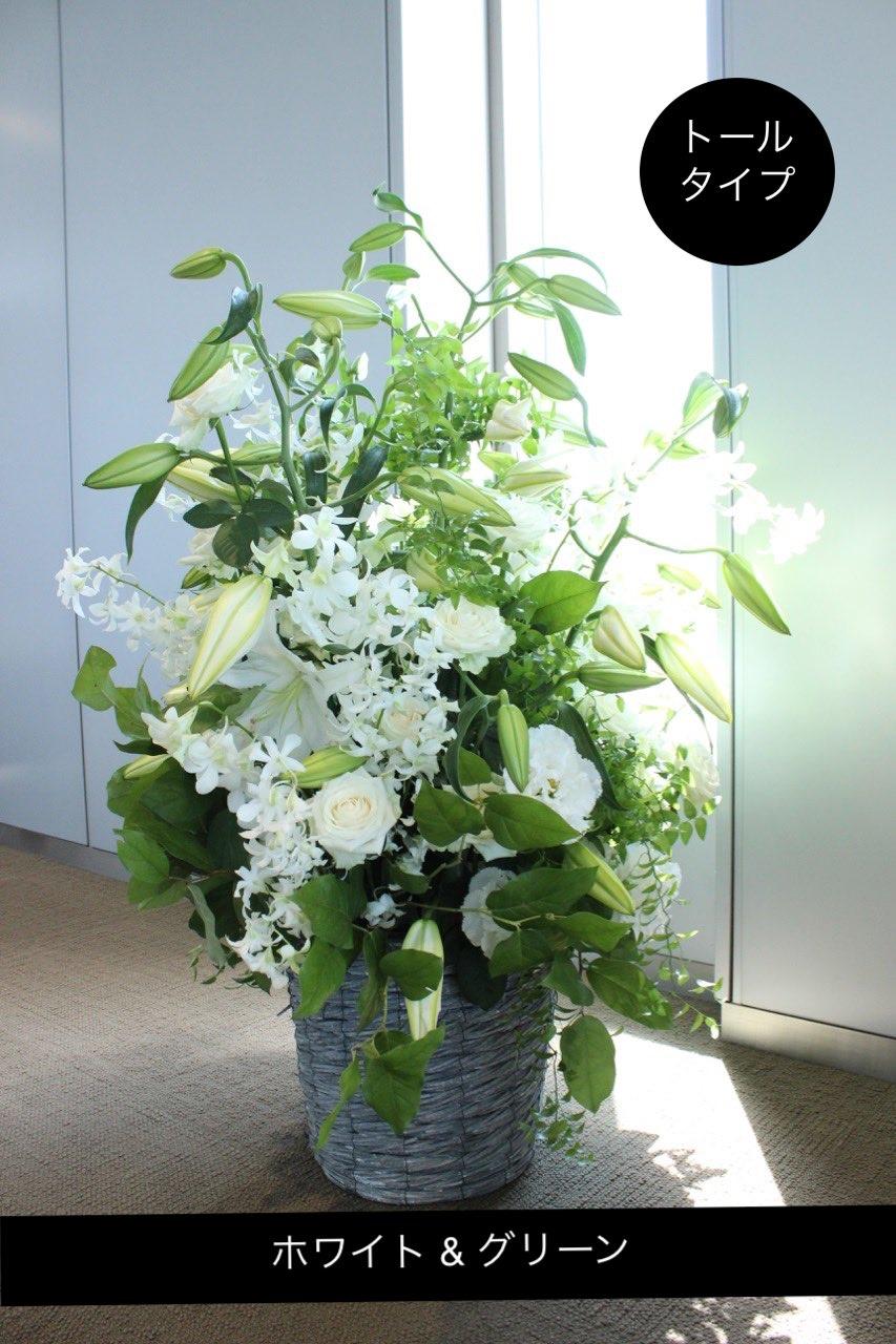 アレンジメント Special 白絹 shirakinu ホワイト&グリーンのトールタイプアレンジ ★都心エリア限定配送