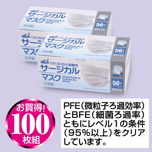 日本製医療用サージカルマスク100枚組(50枚x2箱)