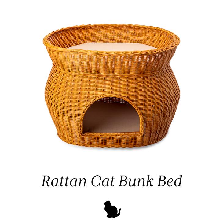 天然籐ネコちゃんハウス 2段ベッドタイプ
