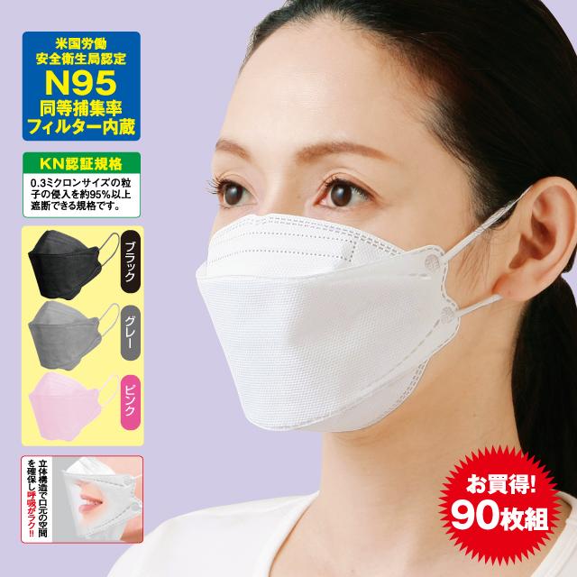 KN-95 立体4層構造不織布マスク90枚組 30枚入×3箱