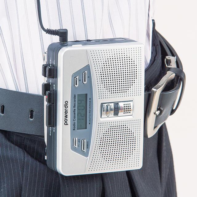 ダブルスピーカー携帯用小型ラジカセ 両耳イヤホン付き