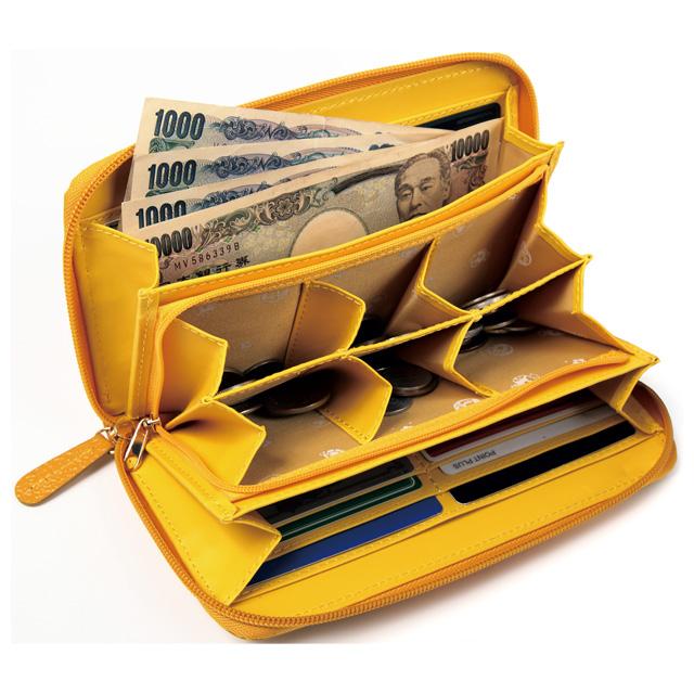 本革ふくろう小銭が分けられる長財布