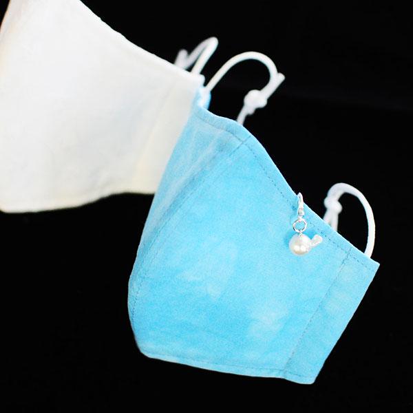 宇和海の贈り物【洗って使える手作りマスク2枚セット 真珠チャーム付き】