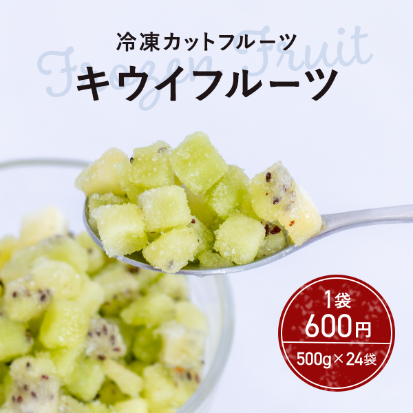 500g×24袋 窒素冷凍カットフルーツ キウイ(8mm) 1袋600円