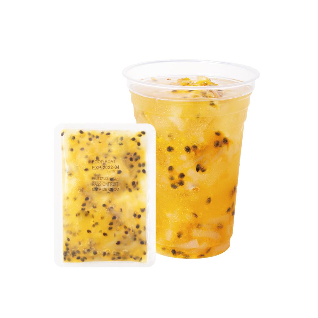 窒素冷凍フルーツソース パッションフルーツ&ナタデココ 130g×120袋/1杯あたり@138円