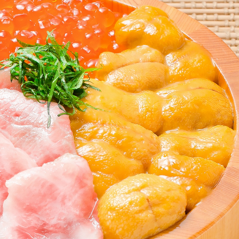 送料無料 築地の海鮮丼セット(究極・約2杯分)本マグロ大トロ特盛り200g&無添加生うに&北海道産イクラ&王様のネギトロ。